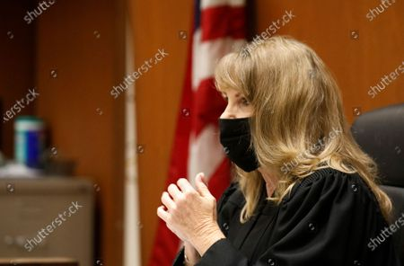 "Los Angeles Superior Court Judge Eleanor J. Hunter listens to attorneys representing actor Danny Masterson during a hearing in Los Angeles Superior Court Monday October 19, 2020. ""That 70's Show"" cast member Masterson has been accused of raping multiple women at his Hollywood Hills home. Superior Court on Monday, Oct. 19, 2020 in Los Angeles, CA. (Al Seib / Los Angeles Times"