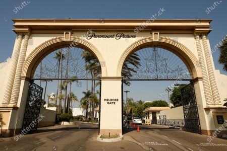 Stock Image of The Melrose Gate of Paramount Pictures Studio located at 5555 Melrose Ave in Hollywood. A sexual assault suspect who was arrested on the Paramount lot early Monday after a 90-minute standoff with police has been identified as Bryan Gudiel Barrios. Fullerton Police Cpl. Billy Phu said that Barrios, 36, is currently hospitalized with non-lethal, self-inflicted knife wounds. Hollywood on Monday, Oct. 19, 2020 in Los Angeles, CA. (Al Seib / Los Angeles Times