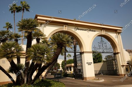 The Melrose Gate of Paramount Pictures Studio located at 5555 Melrose Ave in Hollywood. A sexual assault suspect who was arrested on the Paramount lot early Monday after a 90-minute standoff with police has been identified as Bryan Gudiel Barrios. Fullerton Police Cpl. Billy Phu said that Barrios, 36, is currently hospitalized with non-lethal, self-inflicted knife wounds. Hollywood on Monday, Oct. 19, 2020 in Los Angeles, CA. (Al Seib / Los Angeles Times