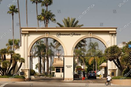 Stock Photo of The Melrose Gate of Paramount Pictures Studio located at 5555 Melrose Ave in Hollywood. A sexual assault suspect who was arrested on the Paramount lot early Monday after a 90-minute standoff with police has been identified as Bryan Gudiel Barrios. Fullerton Police Cpl. Billy Phu said that Barrios, 36, is currently hospitalized with non-lethal, self-inflicted knife wounds. Hollywood on Monday, Oct. 19, 2020 in Los Angeles, CA. (Al Seib / Los Angeles Times