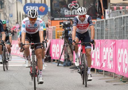 Italian rider Vincenzo Nibali (R) of Trek Segafredo team crosses the finish line after the 16th stage of the 2020 Giro d'Italia cycling race over 229km from Udine to San Daniele Del Friuli, Italy, 20 October 2020.