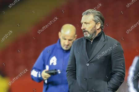 Aberdeen Manager Derek McInnes leaves the pitch during the Scottish Premiership match between Aberdeen and Hamilton Academical FC at Pittodrie Stadium, Aberdeen