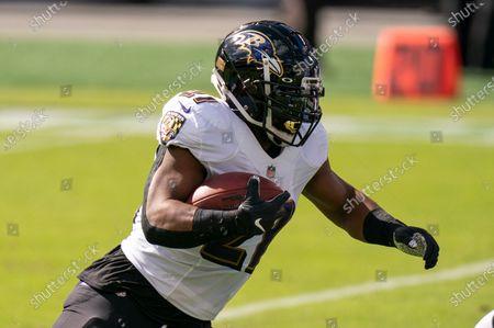 Baltimore Ravens running back Mark Ingram (21) in action during the NFL football game against the Philadelphia Eagles, in Philadelphia