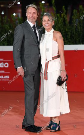 Mads Mikkelsen (L) and his wife Hanne Jacobsen arrive for the screening of 'Druk' (Another Round) at the 15th annual Rome International Film Festival, in Rome, Italy, 20 October 2020. The film festival runs from 15 to 25 October.