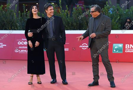 Gabriele Muccino (R) and Italian actor Raoul Bova (L) and his wife, Spanish actress Rocio Munoz Morales (R), arrive for the screening of 'Calabria, terra mia' at the 15th annual Rome International Film Festival, in Rome, Italy, 20 October 2020. The film festival runs from 15 to 25 October.