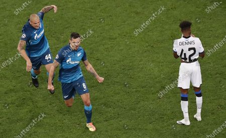 Stock Picture of Dejan Lovren (C) of FC Zenit St.Petersburg celebrates after scoring a goal during the UEFA Champions League group F soccer match between FC Zenit St.Petersburg and Club Brugge in St. Petersburg, Russia, 20 October 2020.