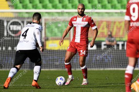 Stock Picture of Sofyan Amrabat of ACF Fiorentina in action against Gennaro Acampora of AC Spezia