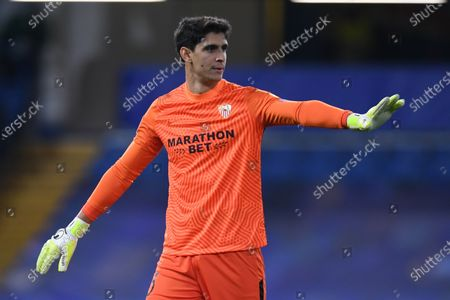 Yassine Bounou of Sevilla during the UEFA Champions League group E soccer match between Chelsea FC and Sevilla FC in London, Britain, 20 October 2020.