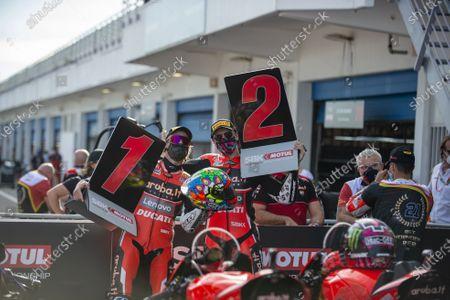 Chaz Davies GBR Ducati Panigale V4R ARUBA.IT Racing - Ducati  1st Classified   Scott Redding GBR Ducati Panigale V4R ARUBA.IT Racing - Ducati  2st Classified  Chaz Davies & Scott Redding during Round 8 Pirelli Estoril Round Race2, World SuperBike