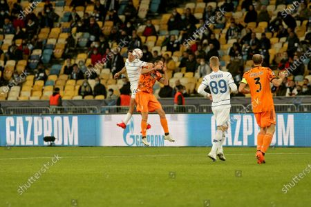 Midfielder Carlos de Pena (L) of FC Dynamo Kyiv and defender Leonardo Bonucci (2nd L) of Juventus FC vie for a header during the UEFA Champions League Matchday 1 Group G game at the NSC Olimpiyskiy, Kyiv, capital of Ukraine.