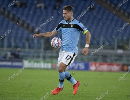 Lazio's Ciro Immobile in action during the UEFA Champions League Group F soccer match between SS Lazio and Borussia Dortmund, at Stadio Olimpico in Rome, Italy, 20 October 2020.