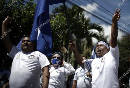 Nicaraguans residing in Costa Rica who reject the Government of Nicaragua protest against the President Daniel Ortega, outside the facilities of the Organization of American States (OAS), in San Jose, Costa Rica, 20 October 2020.