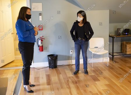 Democratic candidate for United States Senate Sara Gideon (R) talks with Shannon Trainor (L) CEO of Crossroads, as she tours the Crossroads treatment center, during a campaign stop in Portland, Maine, USA, 20 October 2020. Gideon is challenging incumbent Republican Senator Susan Collins of Maine in the upcoming election on 03 November 2020.