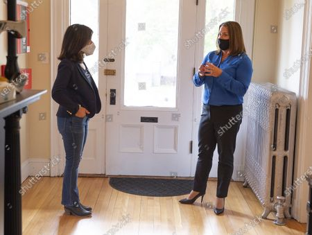 Democratic candidate for United States Senate Sara Gideon (L) talks with Shannon Trainor (R) CEO of Crossroads, as she tours the Crossroads treatment center, during a campaign stop in Portland, Maine, USA, 20 October 2020. Gideon is challenging incumbent Republican Senator Susan Collins of Maine in the upcoming election on 03 November 2020.