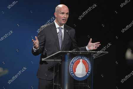 Sept. 29, 2020, shows Utah Lt. Gov. Spencer Cox, a Republican, speaks while debating Democratic challenger Chris Peterson in Salt Lake City. Rival candidates vying to become Utah's next governor joined together in new ads, urging people to accept the results of the November elections and maintain decency with one another despite political differences