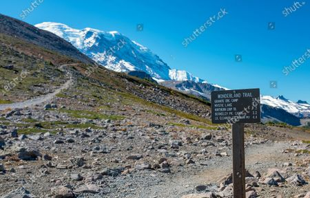The Wonderland Trail is 93 miles (150kms) in length and circles Mt. Rainier through lowland forest and valley into sub-alpine and alpine landscapes. Mt. Rainier National Park, Ashford, Washington