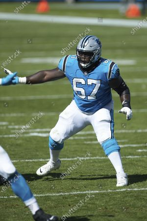 Carolina Panthers guard John Miller (67) during an NFL football game against the Chicago Bears, in Charlotte, N.C