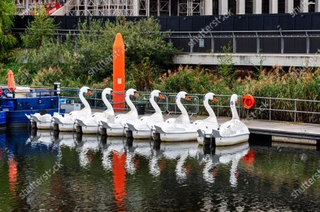Editorial photo of Swan Pedalos at Queen Elizabeth Olympic Park in London, UK - 17 Oct 2020