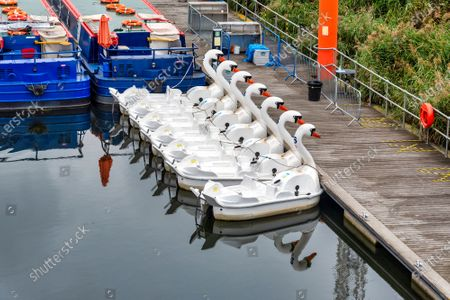 Stock Photo of Swan Pedalos remain tied up at the Queen Elizabeth Olympic Park, despite the government advice to have them open for some household groups.