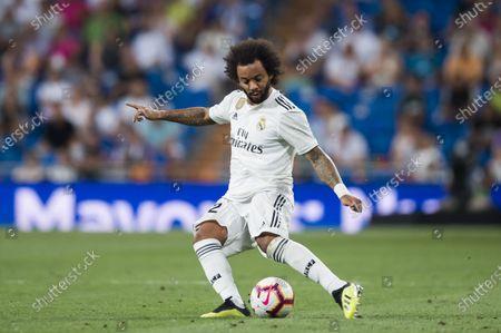 Marcelo Vieira Da Silva of Real Madrid in action during the La Liga 2018-19 match between Real Madrid and Getafe CF at Estadio Santiago Bernabeu
