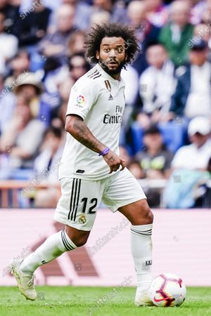 Marcelo Vieira Da Silva of Real Madrid in action during the La Liga 2018-19 match between Real Madrid and Levante UD at Estadio Santiago Bernabeu