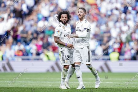 Marcelo Vieira Da Silva of Real Madrid (L) celebrates after scoring his goal with Sergio Ramos of Real Madrid (R) during the La Liga 2018-19 match between Real Madrid and Levante UD at Estadio Santiago Bernabeu