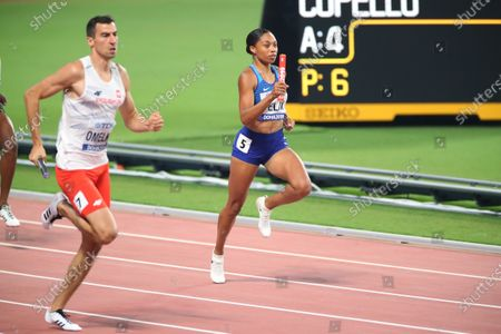 Allyson Felix (USA) - Athletics :  IAAF World Championships Doha 2019  Mixed 4400m Relay Final  at Khalifa International Stadium in Doha, Qatar.