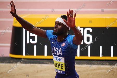 Stock Image of Will Claye (USA) - Athletics :  IAAF World Championships Doha 2019  Men's Triple Jump Final  at Khalifa International Stadium in Doha, Qatar.