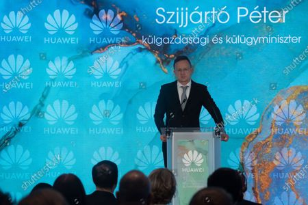 "Hungarian Minister of Foreign Affairs and Trade Peter Szijjarto addresses an event marking the 15th anniversary of operation of Huawei Technologies Hungary Kft in Budapest, Hungary, Oct. 20, 2020. Chinese tech company Huawei celebrated its 15th anniversary of operation in Hungary here on Tuesday, reaffirming its strategy of ""in Hungary and for Hungary."""