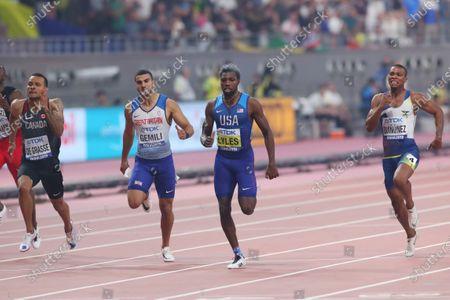 (L to R)  Andre De Grasse (CAN),  Adam Gemili (GBR),  Noah Lyles (USA),  Alex Quinonez (ECU) - Athletics :  IAAF World Championships Doha 2019  Men's 200m Final  at Khalifa International Stadium in Doha, Qatar.