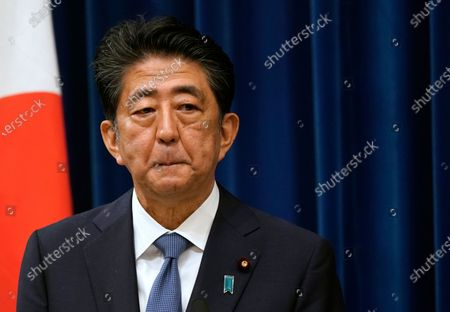 YEARENDER 2020  PERSONALITIES  Japanese Prime Minister Shinzo Abe reacts during a press conference at the prime minister official residence in Tokyo, Japan, 28 August 2020. Prime Minister Shinzo Abe announced his resignation due to health concerns.