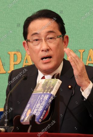 "Stock Image of Former Japanese Foreign Minister Fumio Kishida speaks at the Japan National Press Club in Tokyo on Wednesday, October 21, 2020. Kishida who was defeated at the ruling Liberal Democratic Party (LDP) presidential election last month published his second book ""Kakuheiki no nai sekaihe (To the world without nuclear weapons)"" this week."