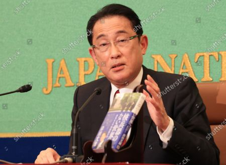 "Stock Photo of Former Japanese Foreign Minister Fumio Kishida speaks at the Japan National Press Club in Tokyo on Wednesday, October 21, 2020. Kishida who was defeated at the ruling Liberal Democratic Party (LDP) presidential election last month published his second book ""Kakuheiki no nai sekaihe (To the world without nuclear weapons)"" this week."