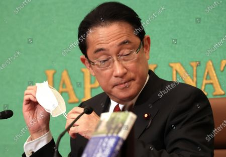 Editorial picture of Former Japanese Foreign Minister Fumio Kishida holds a press conference as he published a book, Tokyo, Japan - 21 Oct 2020