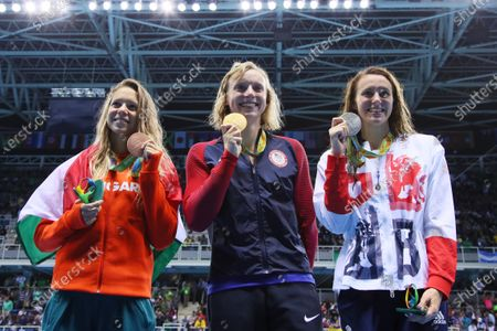 (L-R) Boglarka Kapas (HUN), Katie Ledecky (USA), Jazz Carlin (GBR) - Swimming : Women's 800m Freestyle Medal Ceremony at Olympic Aquatics Stadium during the Rio 2016 Olympic Games in Rio de Janeiro, Brazil.