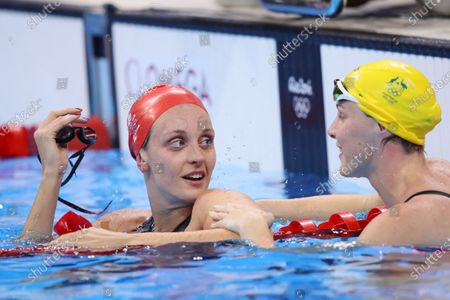 Stock Picture of (L-R) Francesca Halsall (GBR), Bronte Campbell (AUS) - Swimming : Women's 50m Freestyle Semi-Final at Olympic Aquatics Stadium during the Rio 2016 Olympic Games in Rio de Janeiro, Brazil.