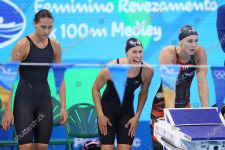 (L-R) Mie Nielsen, Rikke Moller Pedersen, Jeanette Ottesen (DEN) - Swimming : Women's 4x100m Medley Relay Final at Olympic Aquatics Stadium during the Rio 2016 Olympic Games in Rio de Janeiro, Brazil.
