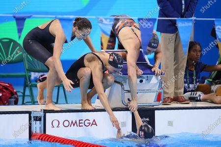 Stock Image of (Top L-R) Mie Nielsen, Rikke Moller Pedersen, Jeanette Ottesen (DEN), (Bottom) Pernille Blume (DEN) - Swimming : Women's 4x100m Medley Relay Final at Olympic Aquatics Stadium during the Rio 2016 Olympic Games in Rio de Janeiro, Brazil.