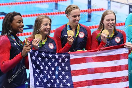 (L-R) Simone Manuel, Kathleen Baker, Dana Vollmer, Lilly King (USA) - Swimming : Women's 4x100m Medley Relay Medal Ceremony at Olympic Aquatics Stadium during the Rio 2016 Olympic Games in Rio de Janeiro, Brazil.