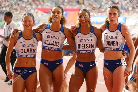 (L to R)  Zoey Clark,  Jodie Williams,  Laviai Nielsen,  Jessica Turner (GBR) - Athletics :  IAAF World Championships Doha 2019  Women's 4400m Relay Heat  at Khalifa International Stadium in Doha, Qatar.
