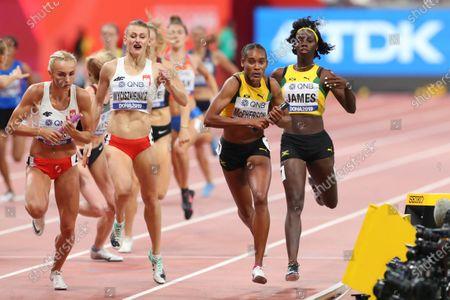 (L to R)  Justyna Swiety-Ersetic,   Patrycja Wyciszkiewicz (POL),  Stephenie Ann Mcpherson,  Tiffany James (JAM) - Athletics :  IAAF World Championships Doha 2019  Women's 4400m Relay Heat  at Khalifa International Stadium in Doha, Qatar.