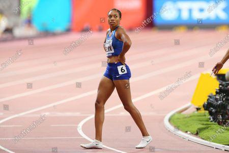 Stock Photo of Allyson Felix (USA) - Athletics :  IAAF World Championships Doha 2019  Women's 4400m Relay Heat  at Khalifa International Stadium in Doha, Qatar.