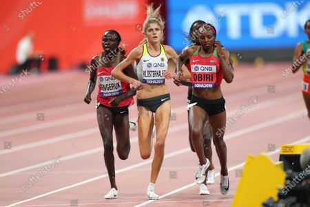 (L to R)  Lilian Kasait Rengeruk (KEN),  Konstanze Klosterhalfen (GER),  Hellen Obiri (KEN) - Athletics :  IAAF World Championships Doha 2019  Women's 5000m Final  at Khalifa International Stadium in Doha, Qatar.