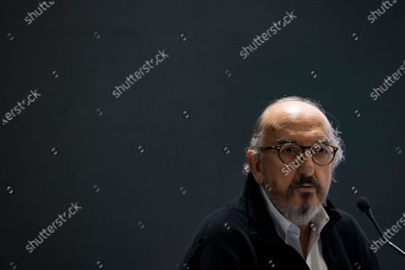 Stock Picture of Jaume Roures, CEO of Mediapro, a prominent television company, during a press conference in Paris, France, 21 October 2020.