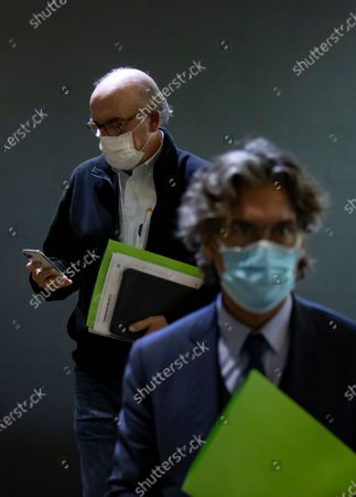 Stock Image of Jaume Roures, founder of Spanish broacaster Mediapro leaves after a press conference in Paris, France, 21 October 2020.
