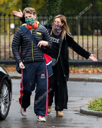 JJ Chalmers and dance partner Amy Dowden leaving the dance studio