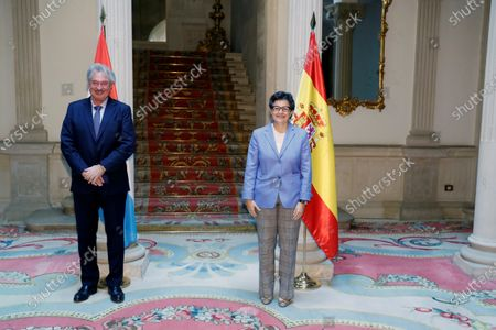 Spanish Foreign Affairs minister Arancha Gonzalez Laya (R) and her counterpart of Luxemburg, Jean Asselborn (L) during an official visit held at Viena Palace in Madrid, Spain on 21 October 2020.