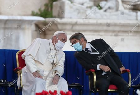 "Piazza del Campidoglio. 34th International Meeting of Prayer for Peace entitled ""No one is saved alone. Peace and Fraternity"", promoted by the Community of Sant'Egidio, with the participation of Pope Francis and representatives of other religions including the patriarch of Constantinople Bartholomew I; the Chief Rabbi of France Haim Korsia."