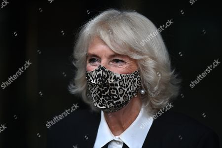 Camilla Duchess of Cornwall leaves the Pepper Pot Centre, a charity set up to support African and Caribbean older people in west London on October 21, 2020.