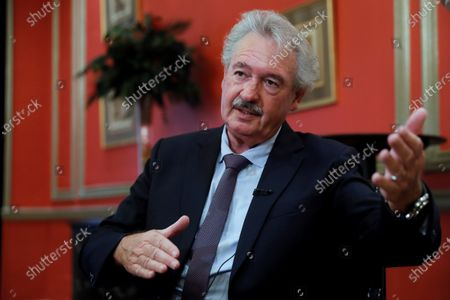 Luxembourg's Foreign Affairs Minister Jean Asselborn (C) talks to a journalist during an interview granted to Agencia Efe in the framework of his official visit in Madrid, Spain 21 October 2020.